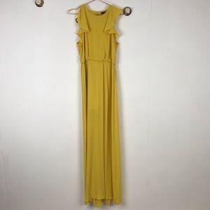 BCBG MAXAZRIA Yellow Ruffle Maxi Formal Long Dress
